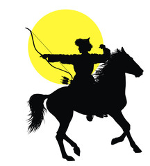 Medieval oriental horseman with bow vector silhouette