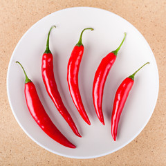 Fresh chili peppers on plate