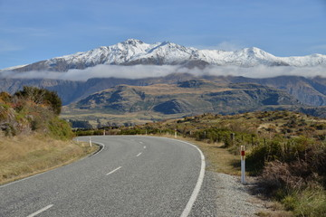 Perspective of Highway Road streching to the mountains, Wanaka.
