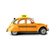 canvas print picture - Taxi, retro car orange color on the white background
