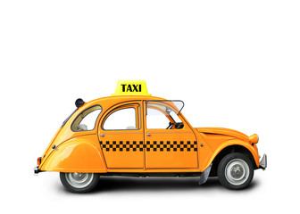 Taxi, retro car orange color on the white background