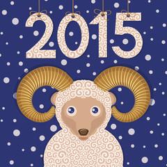Ram 2015. New year greeting card.