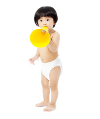 cute baby girl standing and holding a megaphone.
