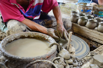 Mechanic pottery working made earthenware at Koh Kret Island