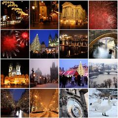 Collage of landmarks in winter Prague