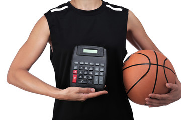 basketball player holding a calculator
