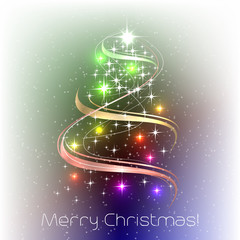 Christmas illustration with christmas tree and decoratio