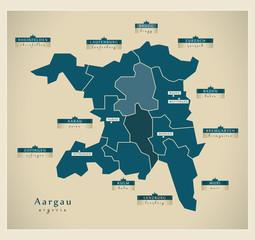 Moderne Landkarte - Aargau CH