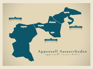 Moderne Landkarte - Appenzell Ausserrhoden CH