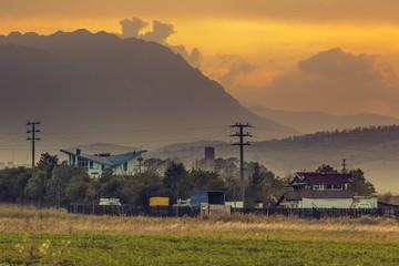 Rural mountain landscape at sunset