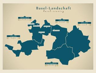Moderne Landkarte - Basel-Landschaft CH