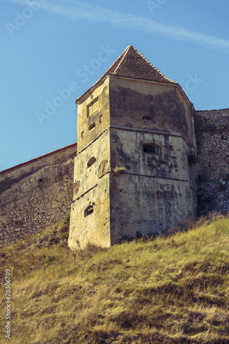 canvas print picture Medieval tower and defence walls of Rasnov citadel, Romania