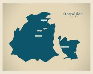 Moderne Landkarte - Obwalden CH