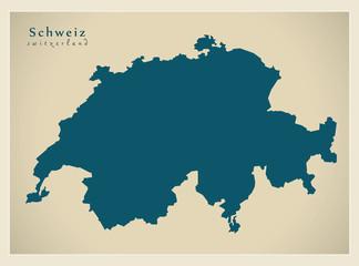 Moderne Landkarte - Schweiz CH