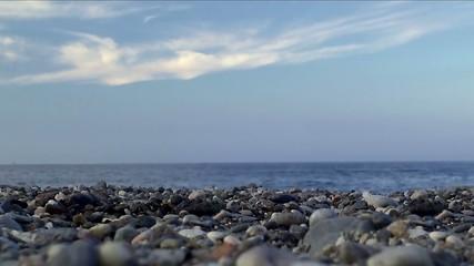 Pebbly sea beach.