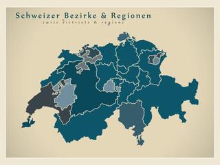 Moderne Landkarte - Schweizer Bezirke und Regionen CH