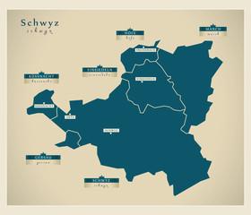 Moderne Landkarte - Schwyz CH