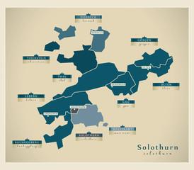 Moderne Landkarte - Solothurn CH