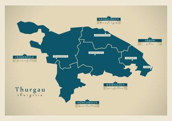 Moderne Landkarte - Thurgau CH