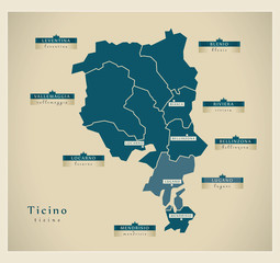 Moderne Landkarte - Ticino CH