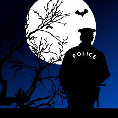 policeman on the moonlight vector