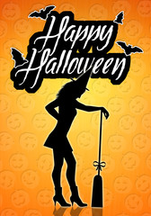 Witch silhouette for Happy Halloween