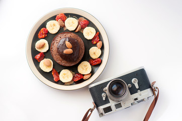 Handmade breakfast chocolate souffle and fruits