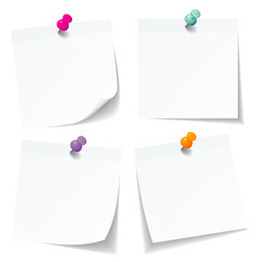 4 White Stick Notes Colored Pins Retro