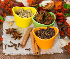 Different spices. Shallow depth of field