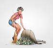 Housewife hiding money