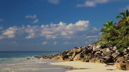 Wild beach of the Caribbean sea in Mexico
