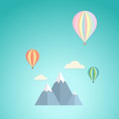 Balloon in the sky and mountain retro