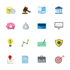 Bank flat icons color