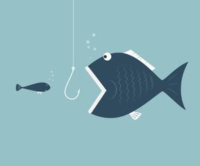 Big fish eat little fish. Concept of Saving oneself.
