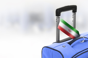 Destination Iran. Blue suitcase with flag.