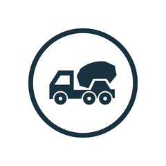 concrete mixer circle background icon.