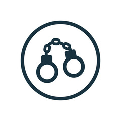 handcuffs circle background icon.