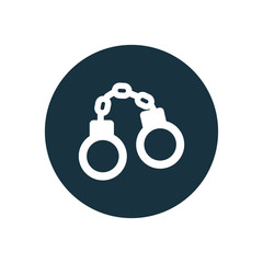 handcuffs circle background icon.