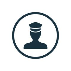 policeman circle background icon.