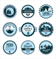 Set of outdoor adventure retro blue labels