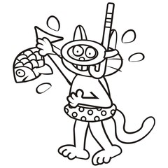 Tomcat and fish, coloring book