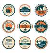 Set of outdoor adventure retro labels