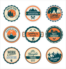 Set of outdoor adventure retro labels