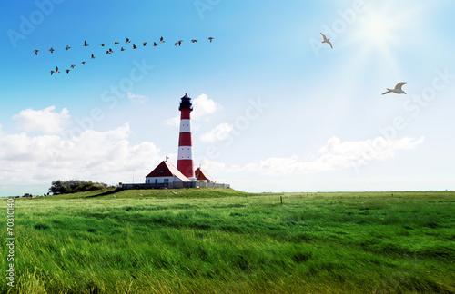 Leinwandbild Motiv Nordfriesland, Leuchtturm