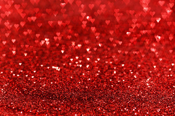 Red hearts bokeh background