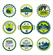 Set of outdoor adventure blue and green retro labels