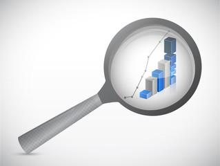 magnify business graph illustration design