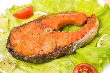 Baked steak trout, closeup