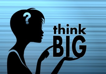 stylish woman silhouette with think big