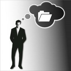businessman thinks on folder